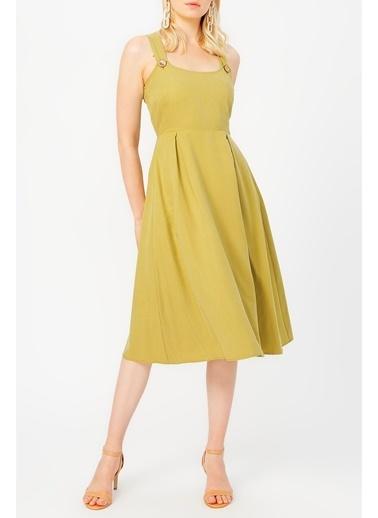 Random Kadın Düğme Detaylı Midi Elbise Haki